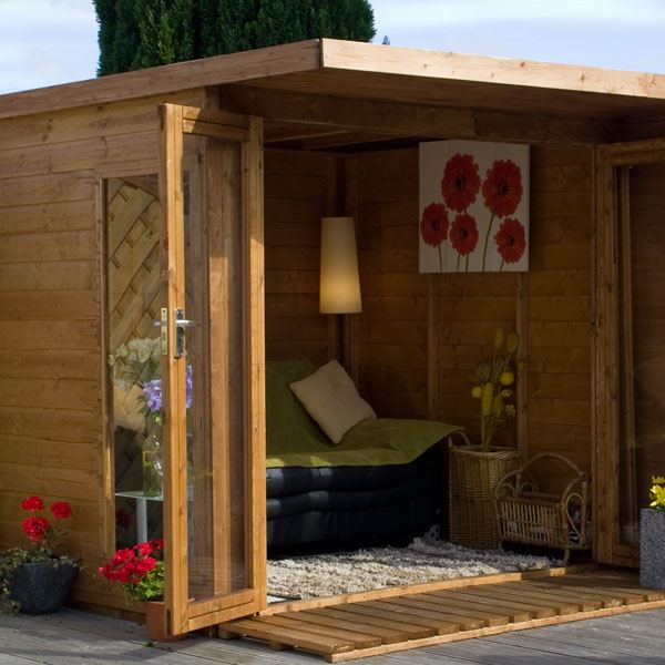 20 Summer House Design Ideas: 12 X 8 Waltons Contemporary Summerhouse With Side Shed (RH